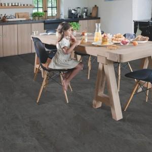 ПВХ плитка QUICK STEP «Сланец черный AMGP40035» из коллекции Ambient Glue Plus